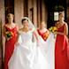 jefferson city missouri wedding photographer: bride and her bridesmaids in red